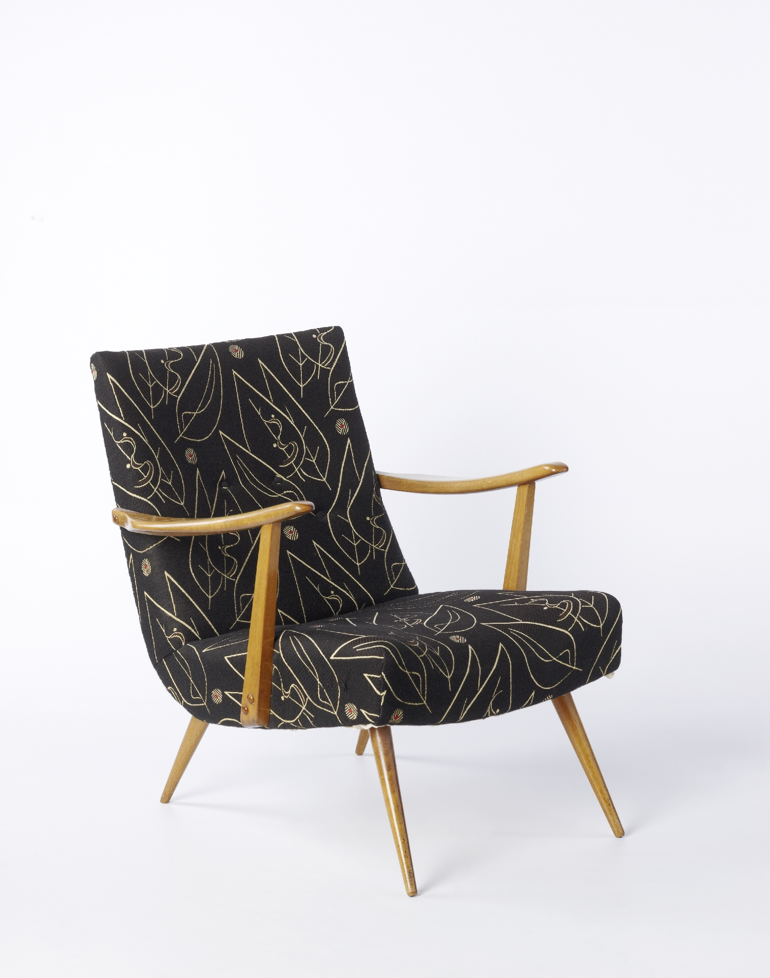 Fauteuil, Österreich, 1950er Jahre, Holz, Stoff, Inv.-Nr. 2117-2011
